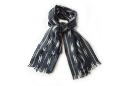 Ikat Smokey Grey Silk Scarf