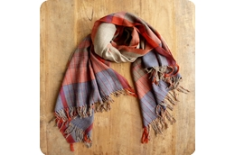 Mia Handwoven Plaid Wool Shawl